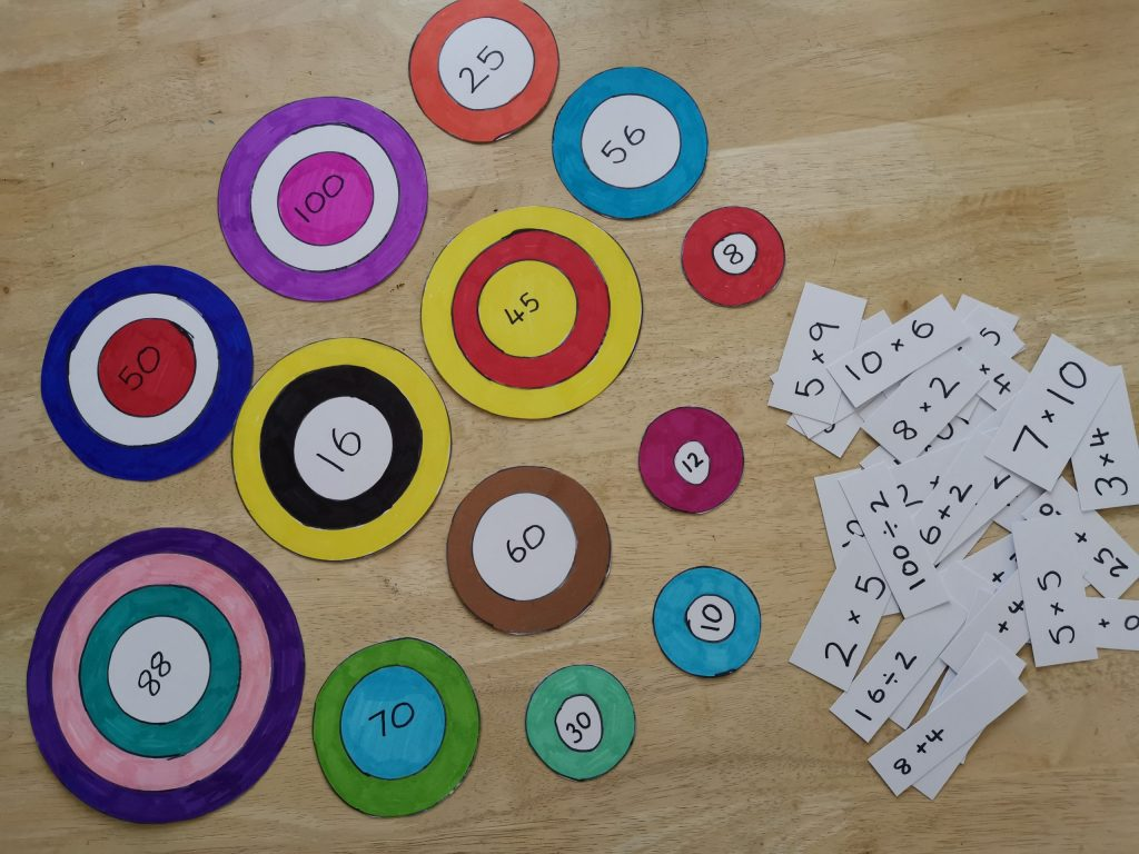 Colourful number targets and time table question cards