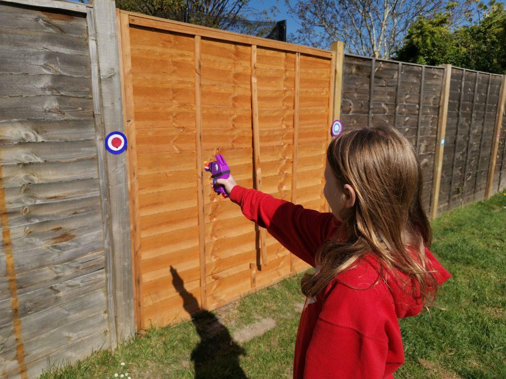 Shooting a nerf gun target