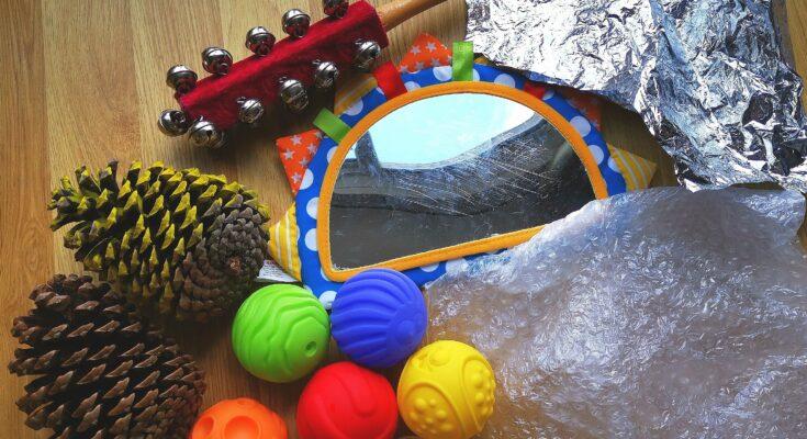 Sensory play toy box toys