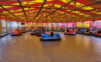 Dodgems cars going round circuit