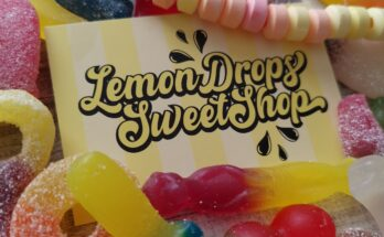 Lemon Drops Sweet Shop business card surrounded by sweets