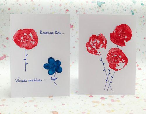 celery stick rose print greetings cards