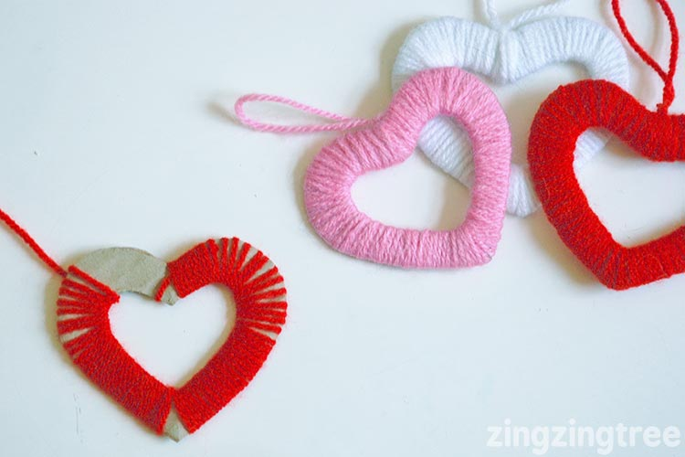 hanging heart shapes using wool