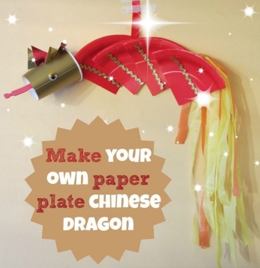 Chinese new year crafts dragon using paper plates and a cup