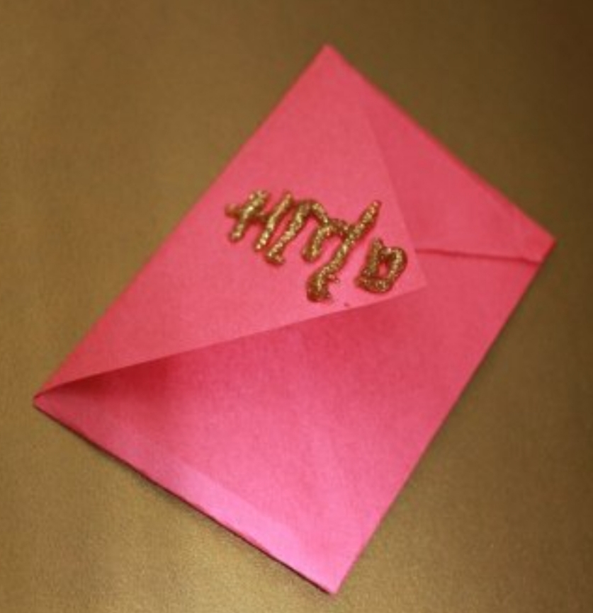 Chinese new year crafts red envelope with gold glitter writing