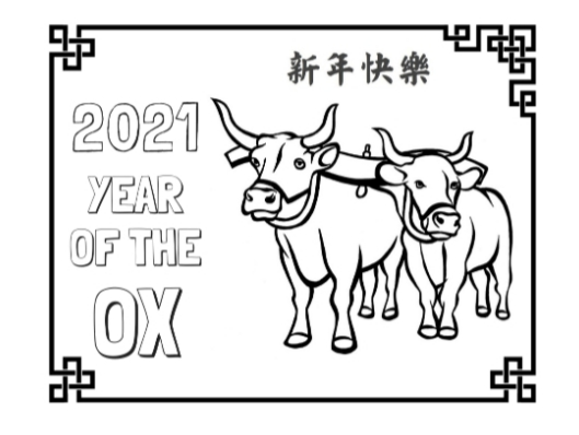 white sheet with black outline of 2 ox and writing for 2021 year of the ox
