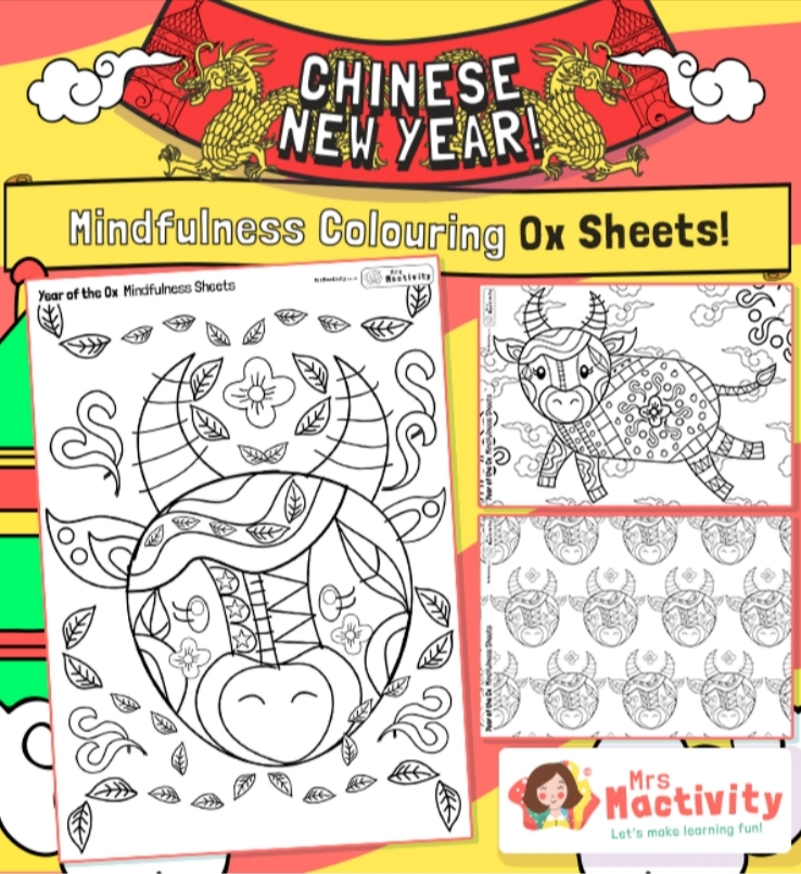 year of the ox mindfulness colouring sheet