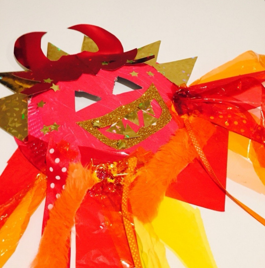 red paper plate Chinese dragon mask with tissue paper