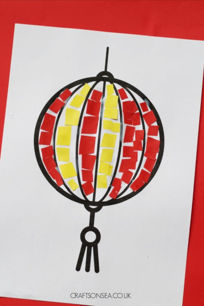 red and yellow chinese lantern using square paper mosaic pieces. Chinese New Year crafts project.