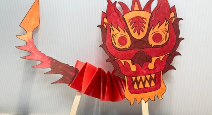 red Chinese dragon puppet