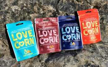 Love Corn bags sat on rock
