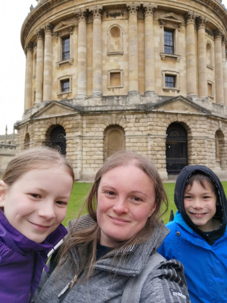 Family selfie outside the Radcliffe Camera in Oxford while doing the Treasure Hunt Oxford trail.