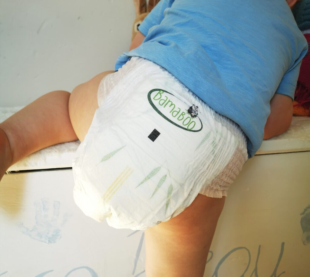 Bamaboo biodegradable nappy on toddler